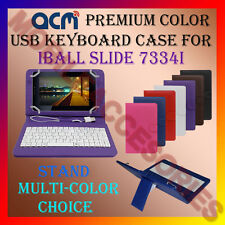 "ACM-USB COLOR KEYBOARD 7"" CASE for IBALL SLIDE 7334I TABLET LEATHER COVER STAND"