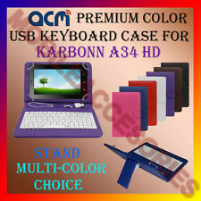 "ACM-USB COLOR KEYBOARD 7"" CASE for KARBONN A34 HD TABLET LEATHER COVER STAND TAB"
