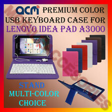 """ACM-USB COLOR KEYBOARD 7"""" CASE for LENOVO IDEA PAD A3000 TAB LEATHER COVER STAND"""