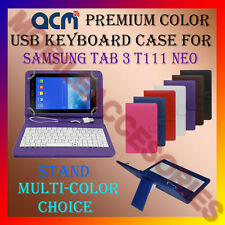 """ACM-USB COLOR KEYBOARD 7"""" CASE for SAMSUNG TAB 3 T111 NEO LEATHER COVER STAND"""