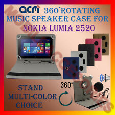 "ACM-PORTABLE MUSIC SPEAKER 360° ROTATING 10"" CASE for NOKIA LUMIA 2520 TAB COVER"