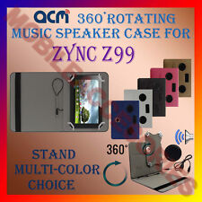 "ACM-PORTABLE MUSIC SPEAKER 360° ROTATING 7"" CASE for ZYNC Z99 TABLET TAB COVER"