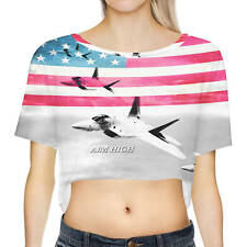 Air Force USA USAF Loose Fit Crop Top Cropped T-Shirt Sizes XS-3XL