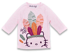 Girls Top Crop Sleeve Hello Kitty Native American Indian Pink 5 to 13 Years