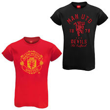 Manchester United FC Official Football Gift Ladies Glitter Print T-Shirt
