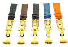 22MM LEATHER BAND WATCH STRAP DEPLOYMENT CLASP FOR INVICTA 1774 WATCH 2B GOLD