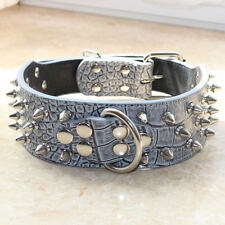 Grey Leather Spiked Studded Dog Collar for Pit Bull Bully Shepherd Cathro M L XL