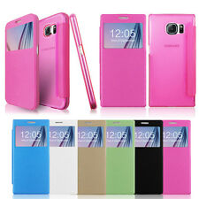 PU Leather Folio Wallet Flip Case with Window For Samsung Note 5 Note 4 S6 Edge