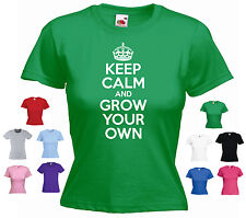 'Keep Calm and Grow Your Own' Ladies Girls Funny Gardening Gardener T-shirt Tee
