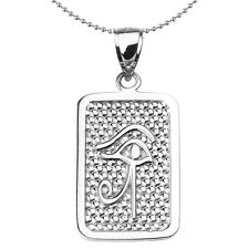 Sterling Silver Eye of Horus Engravable Dog Tag Pendant Necklace