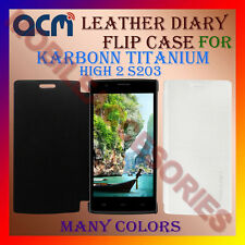 ACM-LEATHER DIARY FOLIO FLIP FLAP CASE for KARBONN TITANIUM HIGH 2 S203 COVER