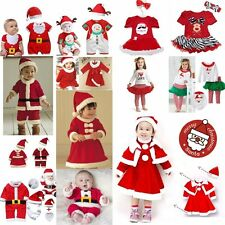 Baby Kids Christmas Party Boy Girl Santa Claus Costume Dress Outfit NEWBORN-4