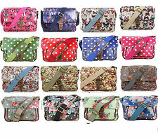 Ladies Oilcloth Small Satchel Messenger Cross Body Shoulder Bag