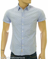 SCOTCH AND SODA Chemise manches courtes pois bleu pale slim fit homme