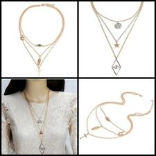 Multi Layered Multi Stranded  long Eye Gold Cross Pendant chains Necklace