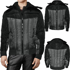 MENS PADDED JACKET QUILTED BLACK GREY HOODIE POLYESTER FUNNEL HOODED WINTER COAT