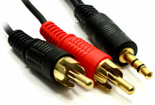 3.5mm Stereo Audio Jack to 2x Twin Male RCA Phono Plugs Gold Cable Lead