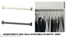 IKEA KOMPLEMENT RAIL 50cm - IDLE FOR WARDROBES- WHITE/ GREY- BUY MORE & SAVE