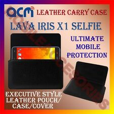ACM-HORIZONTAL LEATHER CARRY CASE for LAVA IRIS X1 SELFIE MOBILE POUCH COVER NEW