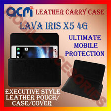 ACM-HORIZONTAL LEATHER CARRY CASE for LAVA IRIS X5 4G MOBILE POUCH COVER HOLDER