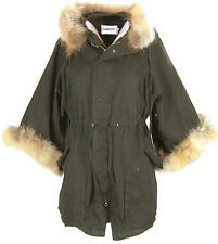 Z76 NEW WOMENS 100% REAL FUR HOODED PARKA LADIES PLUS SIZE FISHTAIL COAT JACKET