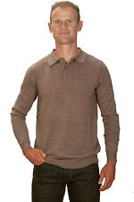 Ugholin - Pull Homme Cachemire Fin Col Polo Beige Manches Longues