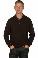 Ugholin - Pull Homme Cachemire 100% Col Polo Marron Manche Longues