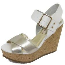 LADIES DOLCIS WHITE SILVER CORK WEDGES PLATFORM SANDALS PEEP-TOE SHOES SIZES 3-8