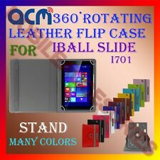 ACM-ROTATING 360° LEATHER FLIP STAND COVER CASE for IBALL SLIDE I701 TABLET TAB