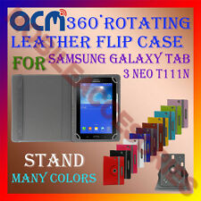 ACM-ROTATING 360° LEATHER FLIP STAND COVER CASE for SAMSUNG TAB 3 NEO T111N NEW