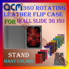 ACM-ROTATING 360° LEATHER FLIP STAND COVER CASE for IBALL SLIDE 3G I80 TABLET