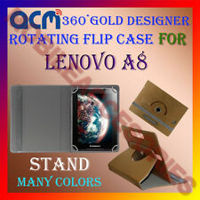 ACM-DESIGNER ROTATING 360° FLIP STAND COVER CASE for LENOVO A8 TABLET TAB CARRY