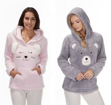 Ladies Soft Animal Novelty Snuggle Fleece Hoody Luxurious Warm Top Gift For Her
