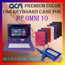 "ACM-USB COLOR KEYBOARD 10"" CASE for HP OMNI 10 TABLET LEATHER COVER STAND CARRY"