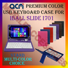 """ACM-USB COLOR KEYBOARD 7"""" CASE for IBALL SLIDE I701 TABLET LEATHER COVER STAND"""