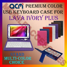 """ACM-USB COLOR KEYBOARD 7"""" CASE for LAVA IVORY PLUS TABLET LEATHER COVER STAND"""