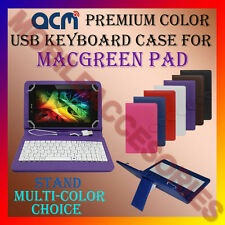 """ACM-USB COLOR KEYBOARD 7"""" CASE for MACGREEN PAD TABLET LEATHER COVER STAND CARRY"""
