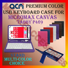 """ACM-USB COLOR KEYBOARD 7"""" CASE of MICROMAX CANVAS TABBY P469 LEATHER COVER STAND"""
