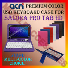 """ACM-USB COLOR KEYBOARD 7"""" CASE for SALORA PRO TAB HD TABLET LEATHER COVER STAND"""