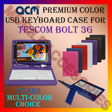 """ACM-USB COLOR KEYBOARD 7"""" CASE for TESCOM BOLT 3G TABLET LEATHER COVER STAND NEW"""