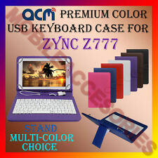 """ACM-USB COLOR KEYBOARD 7"""" CASE for ZYNC Z777 TABLET LEATHER COVER STAND CARRY"""