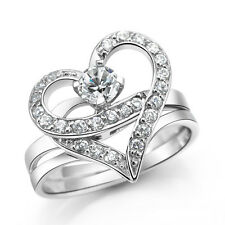 S925 Sterling Silver Shining CZ Heart Shaped Ring/Can separate into 2 Ring