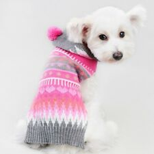 Pet Dog Colorful Hooded Clothes Knitwear Knit Sweater Coat Apparel Size XXS-L