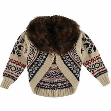 girls RALPH LAUREN JACKET / CARDIGAN Fair Isle wool blend Fur Collar 5Y BNWT
