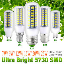 Ultra Bright E27 E14 B22 G10 G9 5730 SMD 7~25W 110/220V LED Corn Bulb Lamp Light