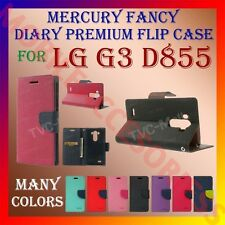 ACM-MERCURY PREMIUM DIARY FLIP FLAP CASE for LG G3 D855 MOBILE WALLET COVER NEW