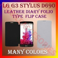 ACM-LEATHER DIARY FOLIO FLIP FLAP CASE for LG G3 STYLUS D690 FRONT & BACK COVER
