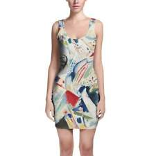 Kandinsky Abstract Art Painting Bodycon Dress Sizes XS-3XL Sleeveless Stretch Sh