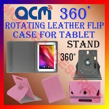 """ACM-ROTATING LIGHT PINK FLIP COVER STAND 7"""" CASE for DATAWIND UBISLATE 3G7 TAB"""