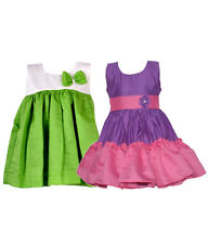 Laocchi Chanderi Cotton Partywear Frocks - Set of 2 (Violet & Pink, Green)